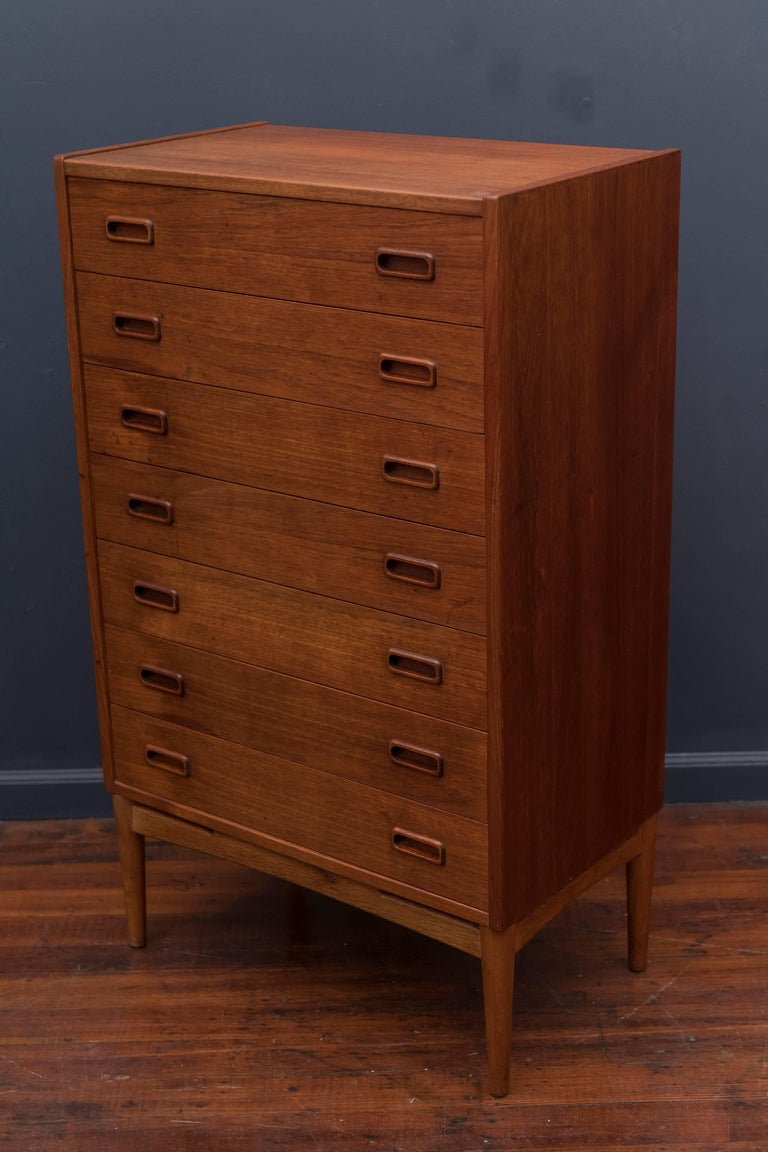 Danish Teak Tall Chest of Drawers For Sale 1