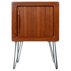 Danish Teak Tambour Door Media Cabinet Nightstand with Carved Teak Pulls