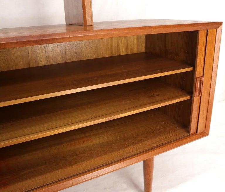 Danish Teak Tambour Doors Long Credenza Dresser Server with Glass Doors Hutch  For Sale 7