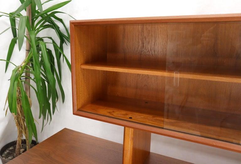 Danish Teak Tambour Doors Long Credenza Dresser Server with Glass Doors Hutch  For Sale 8