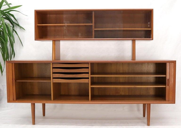 Danish Teak Tambour Doors Long Credenza Dresser Server with Glass Doors Hutch  For Sale 9