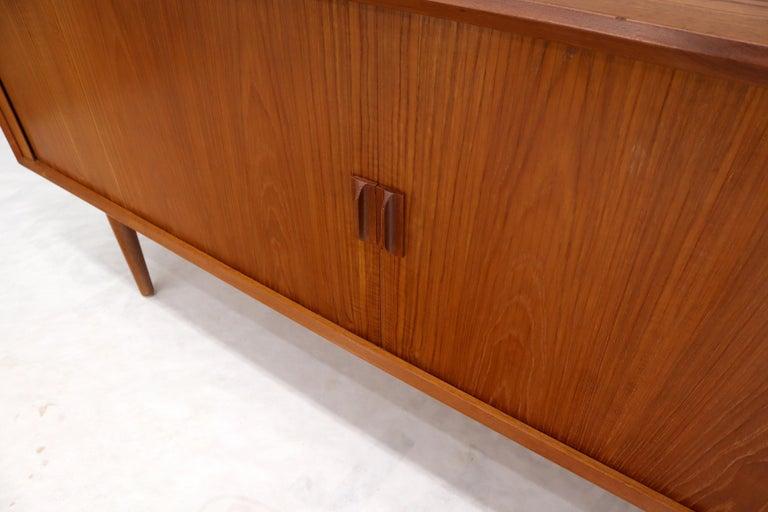 Danish Teak Tambour Doors Long Credenza Dresser Server with Glass Doors Hutch  For Sale 10