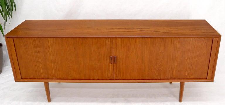 Danish Teak Tambour Doors Long Credenza Dresser Server with Glass Doors Hutch  In Good Condition For Sale In Rockaway, NJ