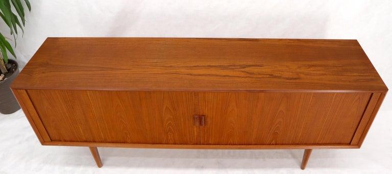 20th Century Danish Teak Tambour Doors Long Credenza Dresser Server with Glass Doors Hutch  For Sale