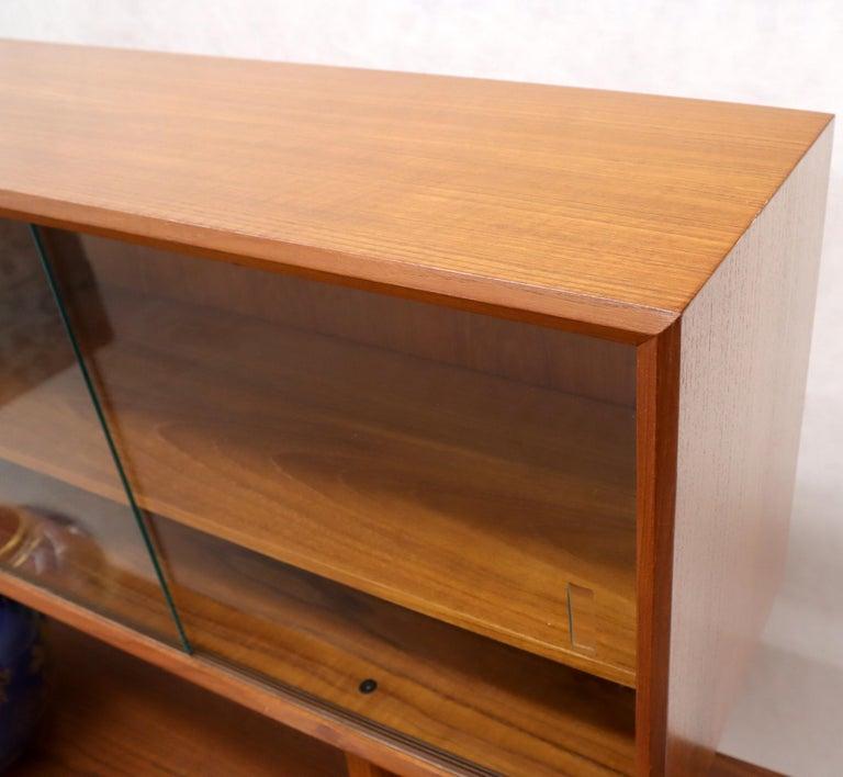 Danish Teak Tambour Doors Long Credenza Dresser Server with Glass Doors Hutch  For Sale 4