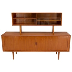 Danish Teak Tambour Doors Long Credenza Dresser Server with Glass Doors Hutch