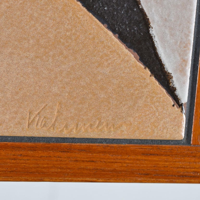 Danish Teak Tile-Top Media Cabinet Credenza Buffet Signed by the Artist, 1980s 1