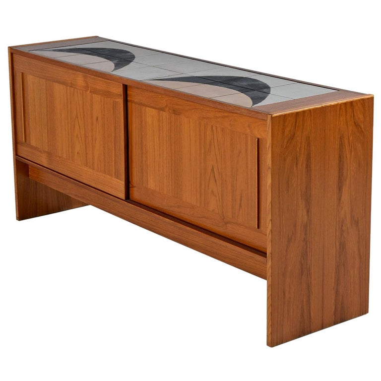 Danish Teak Tile-Top Media Cabinet Credenza Buffet Signed by the Artist, 1980s
