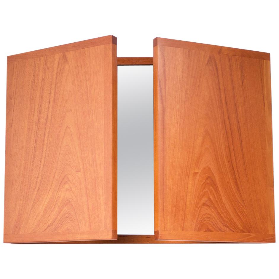 Danish Teak Tri-Fold Wall Mirror by Kai Kristiansen for Aksel Kjersgaard