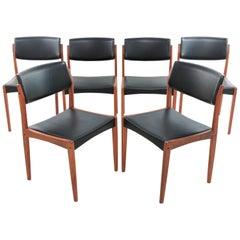 Danish Teak and Vinyl Midcentury Dining Chairs by Bramin