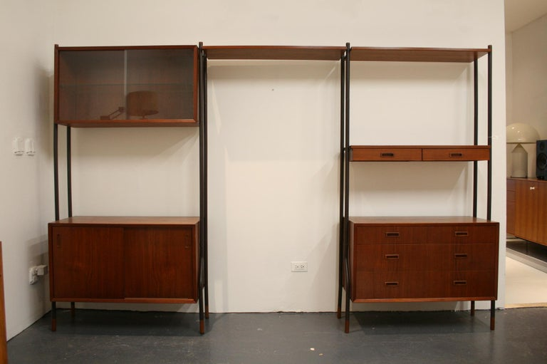 Mid-Century Modern Danish Teak Wall System Attributed to Arne Vodder For Sale