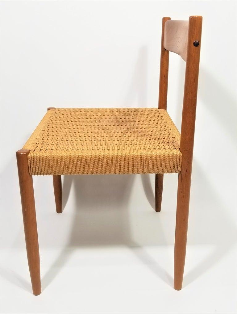 Danish Teak Woven Chair Midcentury For Sale 7