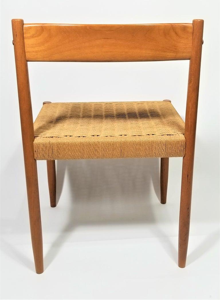 Danish Teak Woven Chair Midcentury For Sale 9