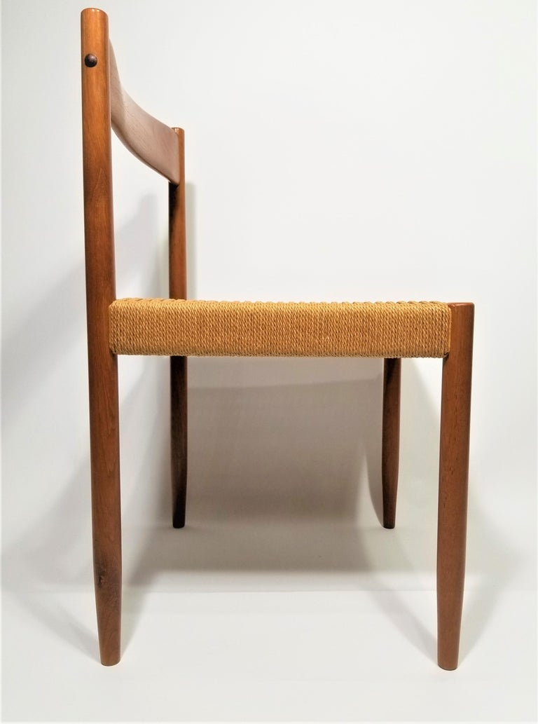 Danish Teak Woven Chair Midcentury For Sale 10