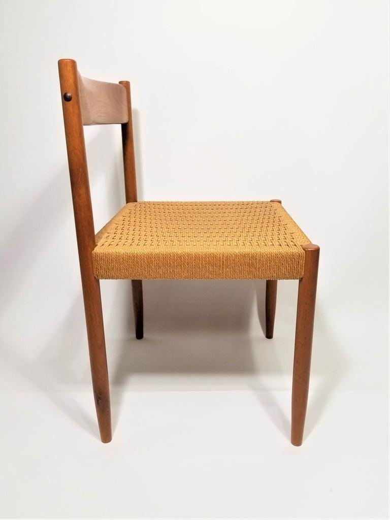 Danish Teak Woven Chair Midcentury For Sale 11