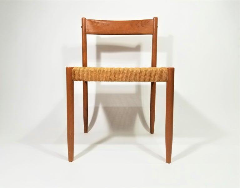 Midcentury Danish Scandinavian teak side chair with handwoven seat. Excellent condition.