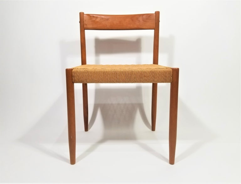 Danish Teak Woven Chair Midcentury In Excellent Condition For Sale In New York, NY