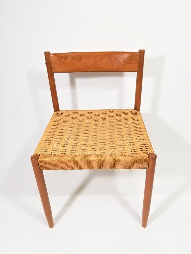 Rope Danish Teak Woven Chair Midcentury For Sale