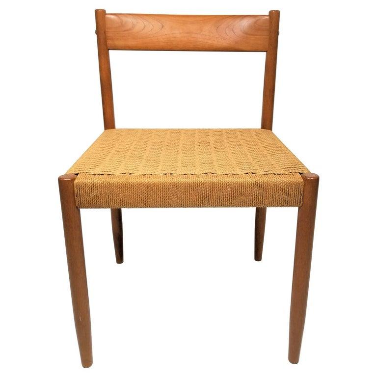 Danish Teak Woven Chair Midcentury For Sale