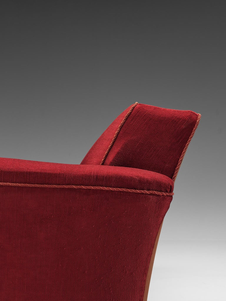 Danish Three-Seat Sofa in Red Velours, 1940s 4