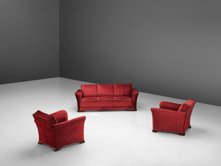 Danish Three-Seat Sofa in Red Velours, 1940s 5