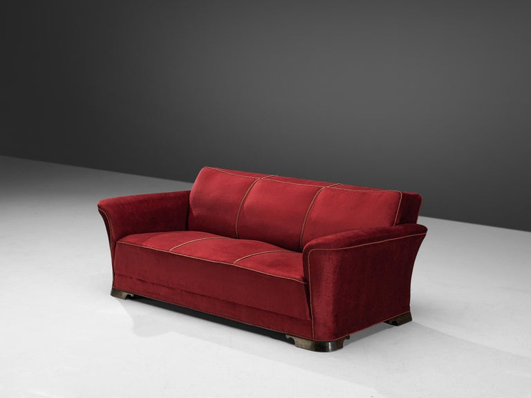 Art Deco Danish Three-Seat Sofa in Red Velours, 1940s