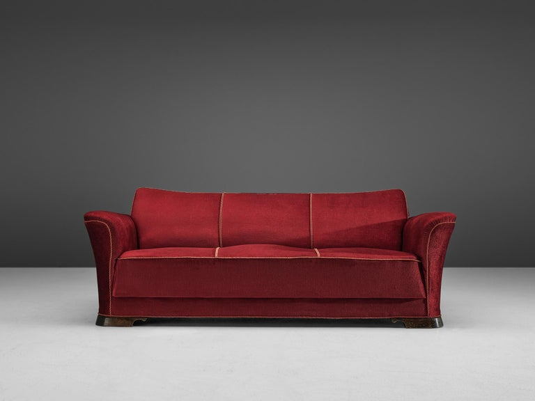 Danish Three-Seat Sofa in Red Velours, 1940s In Good Condition In Waalwijk, NL