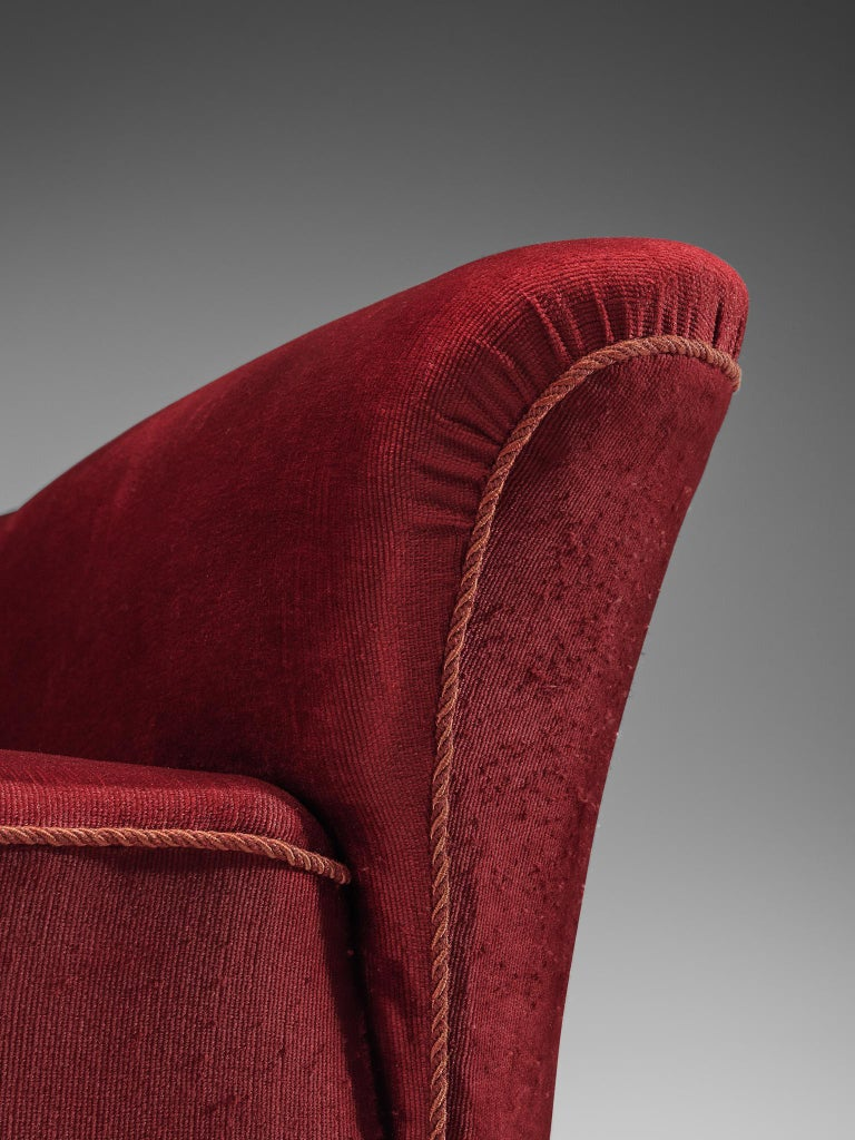 Danish Three-Seat Sofa in Red Velours, 1940s 2