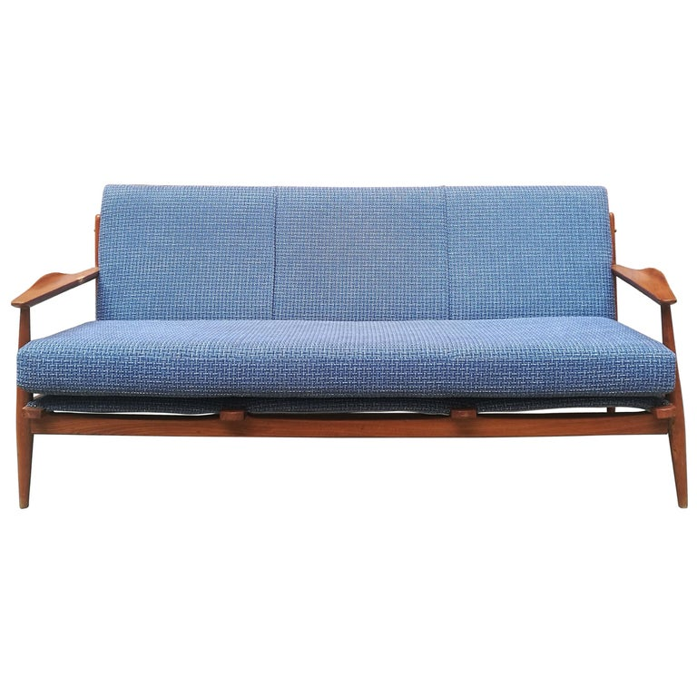 Danish Three-Seat Sofa with Armrests, 1960s For Sale