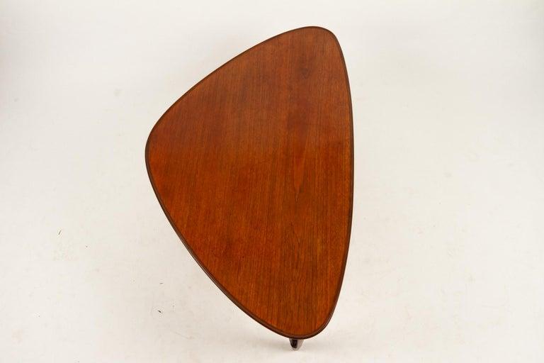 Danish Triangular Teak Coffee Tablel, 1950s For Sale 6