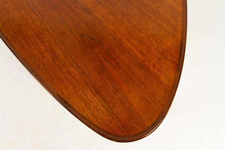 Danish Triangular Teak Coffee Tablel, 1950s For Sale 10