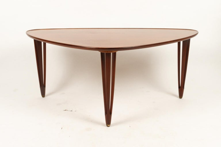 Mid-Century Modern Danish Triangular Teak Coffee Tablel, 1950s For Sale