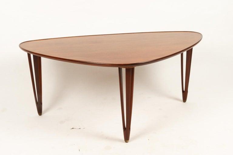 Danish Triangular Teak Coffee Tablel, 1950s For Sale 1