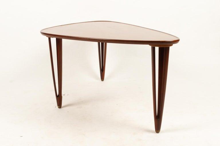 Danish Triangular Teak Coffee Tablel, 1950s For Sale 2