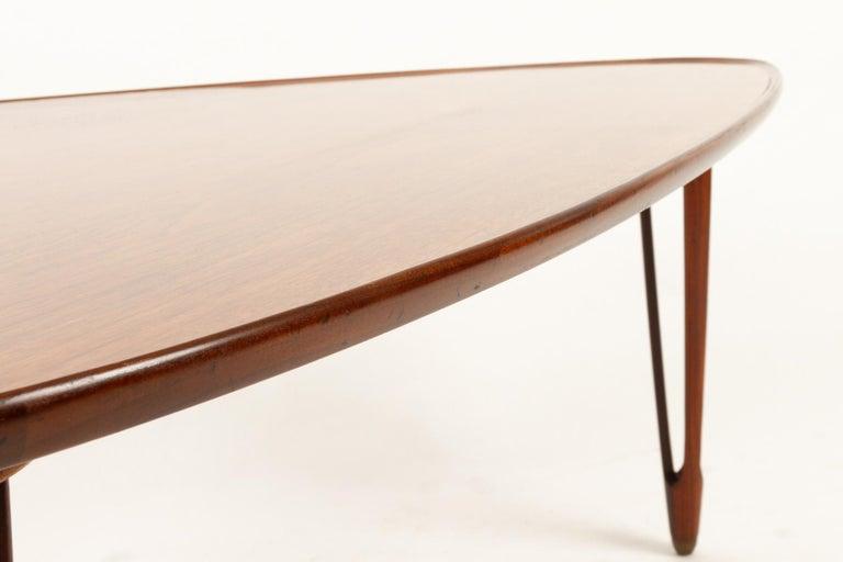 Danish Triangular Teak Coffee Tablel, 1950s For Sale 4