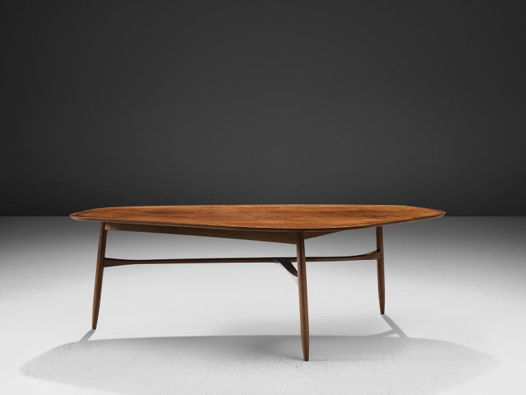 Scandinavian Modern Danish Tripod Coffee Table in Teak For Sale