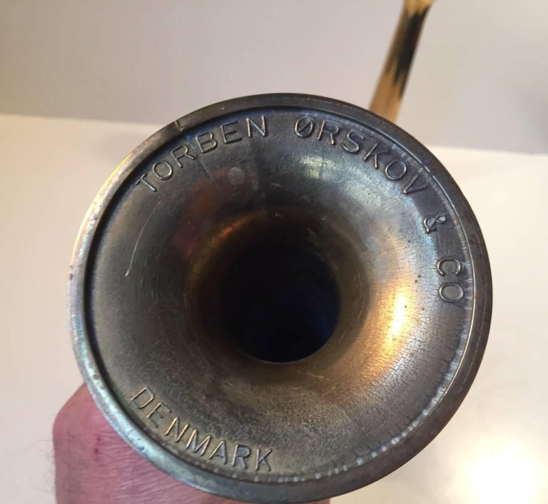 Mid-Century Modern Danish Trumpet Candlesticks in Brass by Hans Bolling, Torben Ørskov, 1960s For Sale