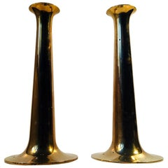 Danish Trumpet Candlesticks in Brass by Hans Bolling, Torben Ørskov, 1960s