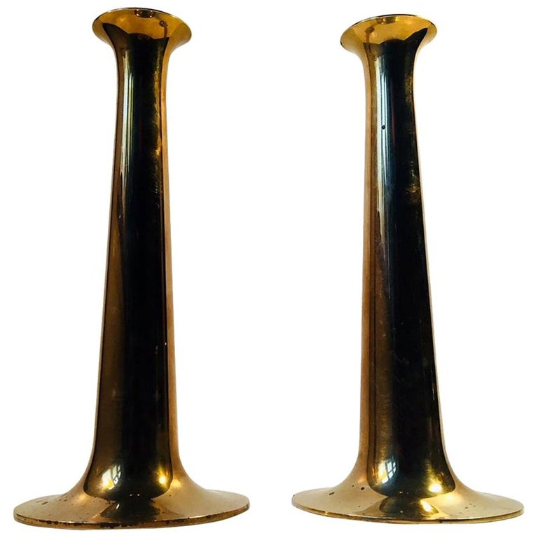Danish Trumpet Candlesticks in Brass by Hans Bolling, Torben Ørskov, 1960s For Sale