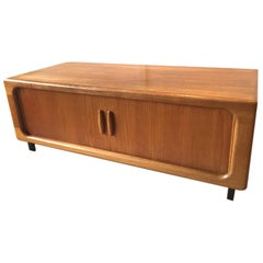 Danish TV Rack Side Board with Tambour Doors by Dyrlund, Denmark, 1970s