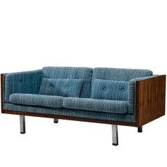 Milo Baughman Zwei-Sitzer-Sofa mit Palisander und blauem Bezug