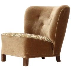 Danish Velvet Slipper Chair