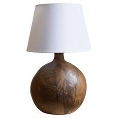 Danish, Very Large Table Lamp, Glazed Stoneware, Brass, Denmark, 1950s