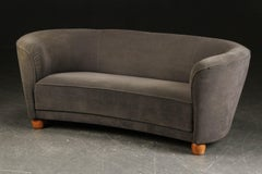Danish Vintage Boesen Style Banana Form Curved Sofa