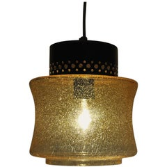 Danish Vintage Brass and Glass Pendant Lamp