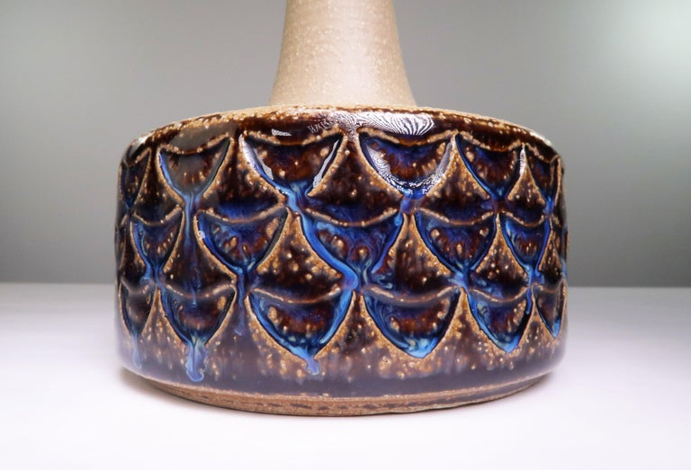 Mid-Century Modern Danish Vintage Ceramic Blue, Brown Table Lamp by Søholm, 1960s For Sale