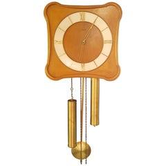 Danish Vintage Hanging Clock by M. Christiensen & Søn, 1960s, Teak Wood
