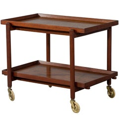 Danish Vintage Midcentury Teak Bar Cart Tea Caddy Trolley