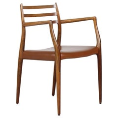 Danish Vintage N.O. Møller Rosewood Armchair No 78 with Leather Seat Cover 1960s