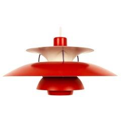 Danish Vintage Red Ceiling Pendant PH5 by Poul Henningsen, 1970s